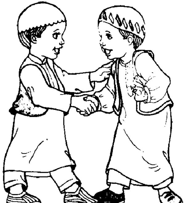 Person Shaking Hands Coloring Page Sketch